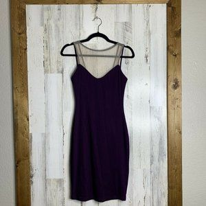 Abi Ferrin purple bodycon dress mesh neckline XS